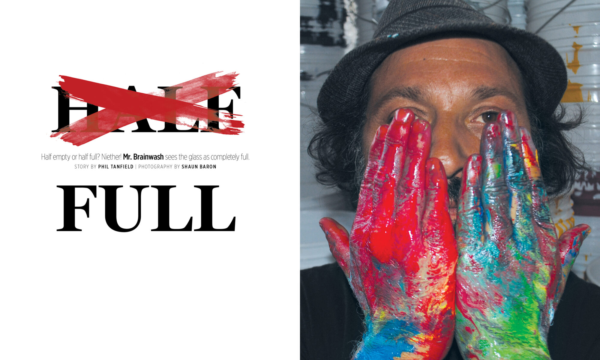 Opening spread of Mr. Brainwash feature, Issue 5, The Infamous magazine, 2011.