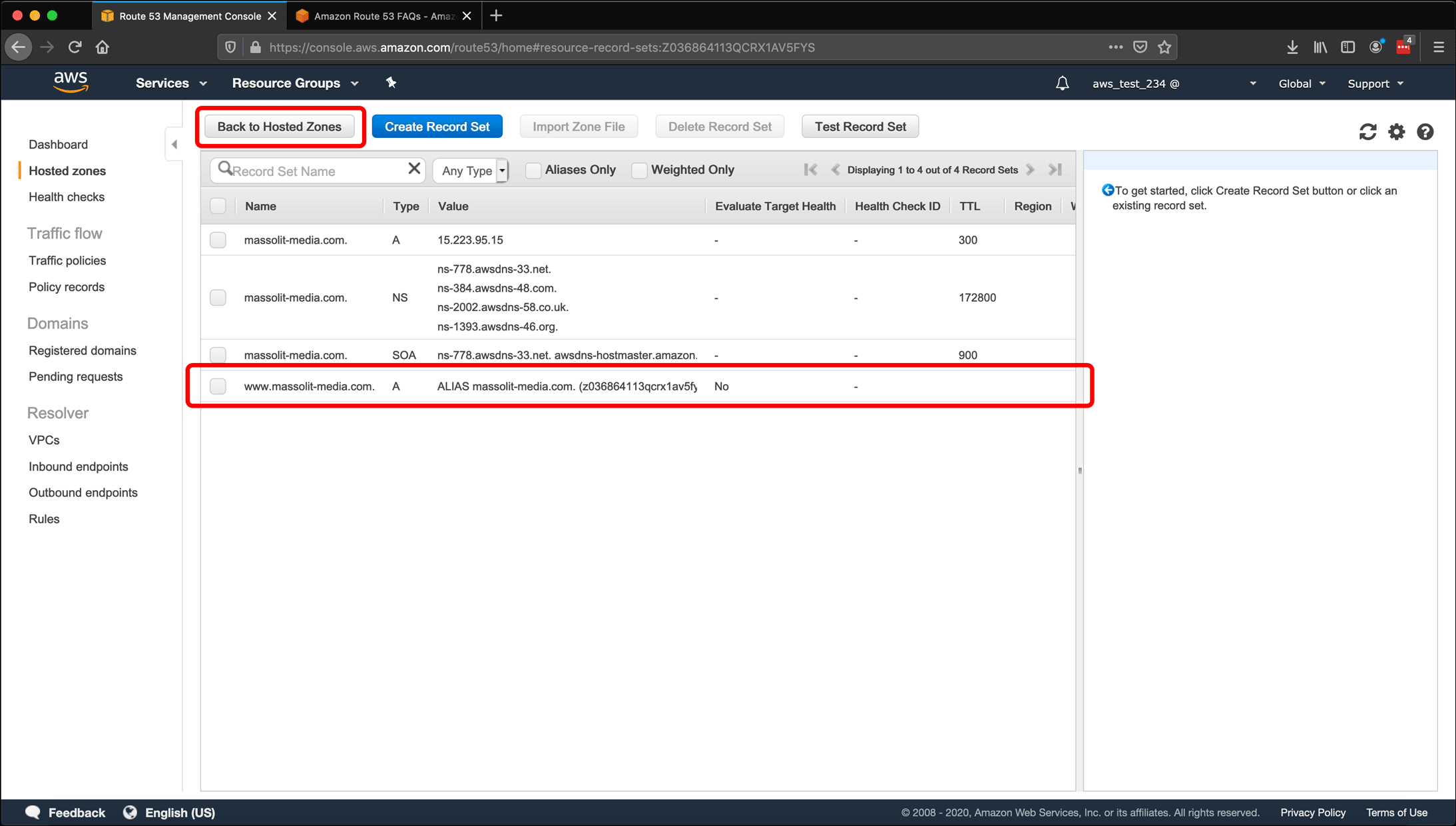 Screenshot: AWS EC2 instance, Elastic IPs, Route 53 DNS management, and restarting or shutting down the instance.