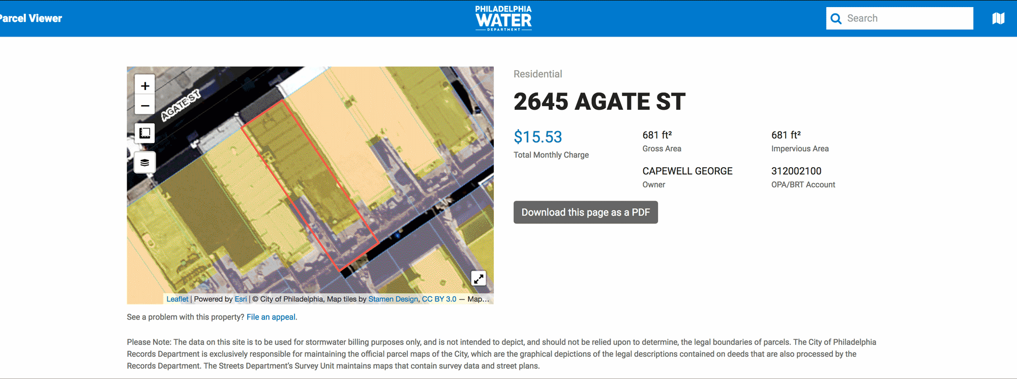 Screenshot illustrating the process to research property and related water bill information on the Philadelphia Water Department's website.