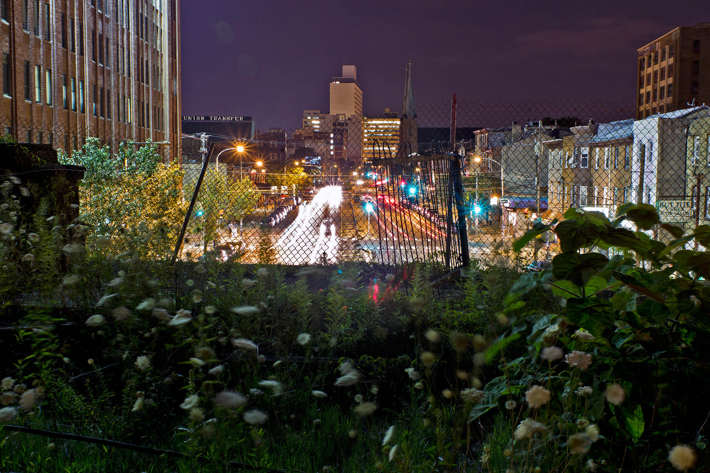 Night shot of Spring Garden Street from the Reading Viaduct, Philadelphia, PA, USA, 2014.
