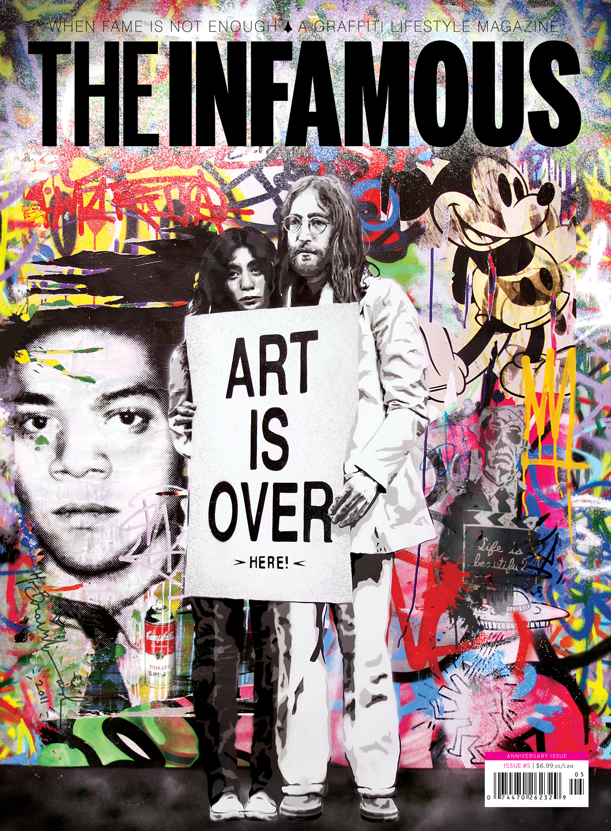 Cover of Issue 5 of The Infamous magazine, 2011. Illustration by Mr. Brainwash.