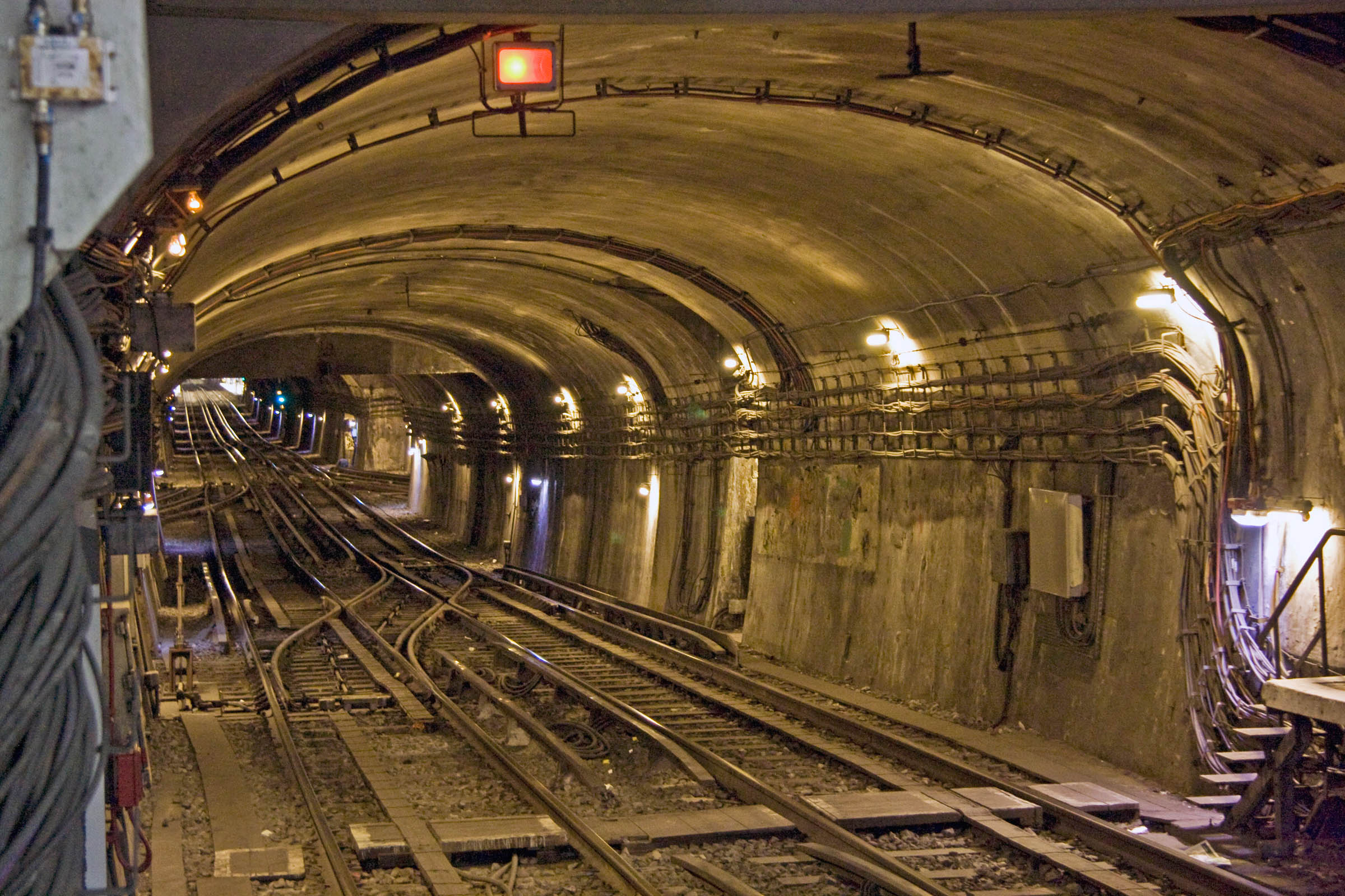 Paris Metro (RATP) tunnel as seen from station, Paris, France, 2010.