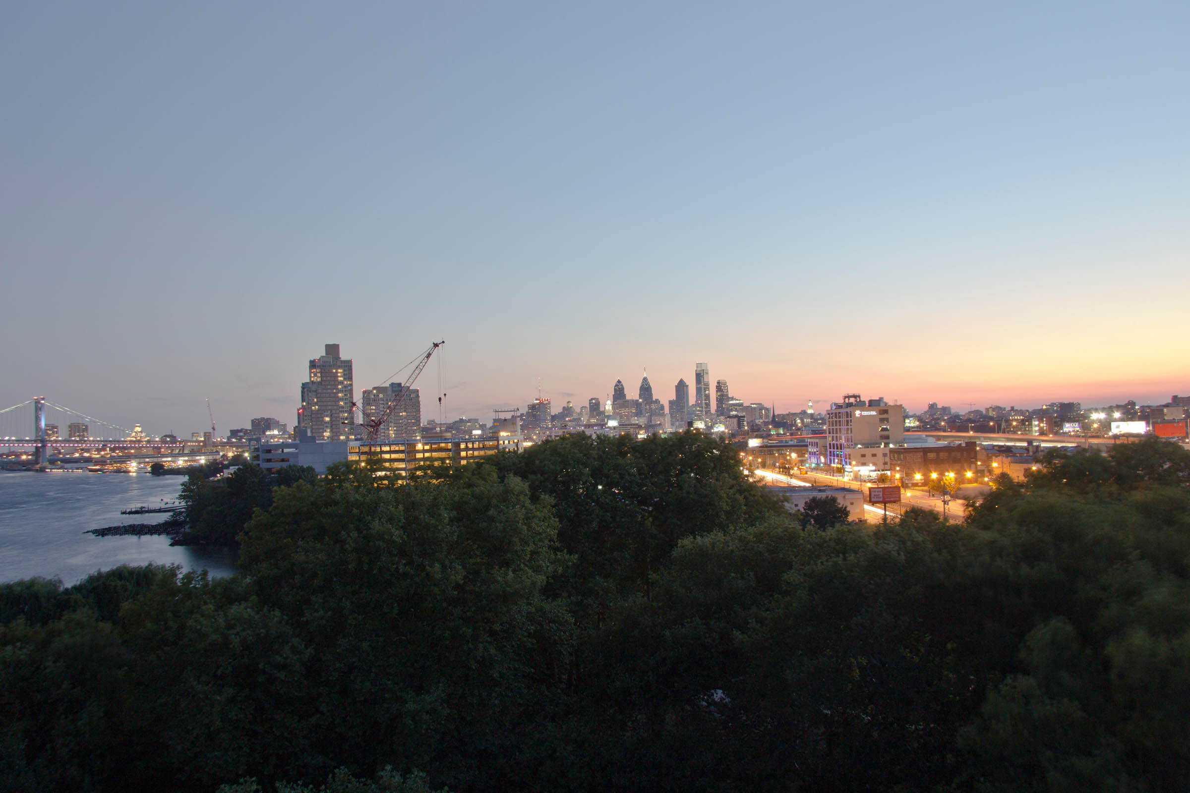 Dusk over Penn Treaty Park looking towards downtown Philadelphia, PA, USA, 2015.