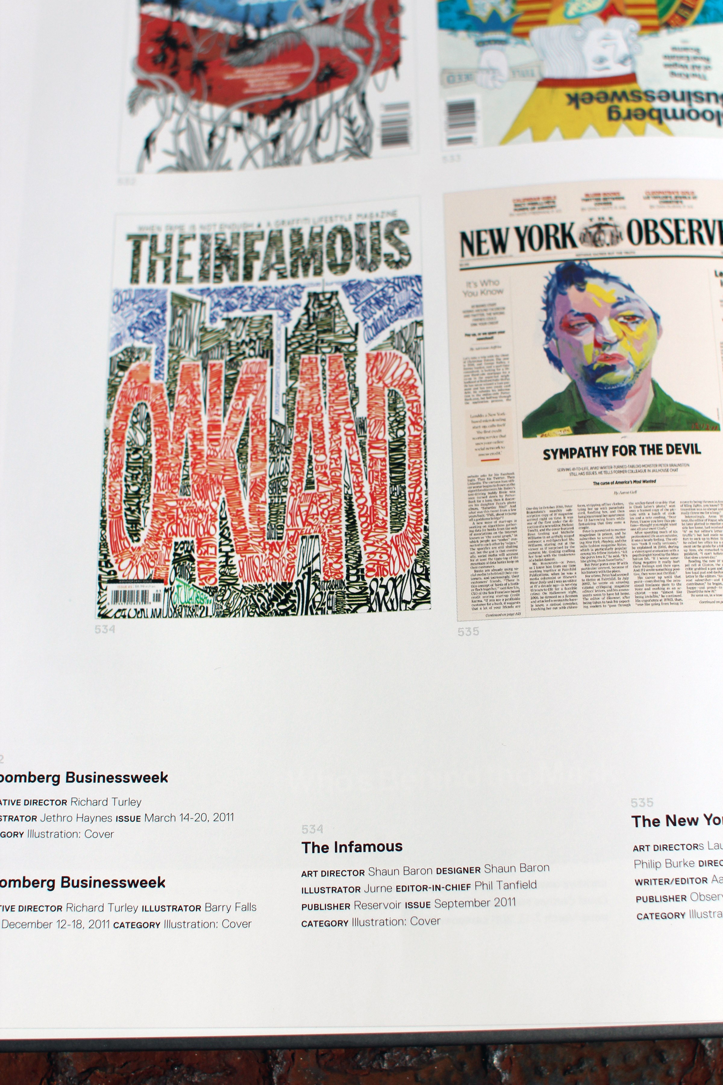 Photo of a layout from the Society of Publication Designer's 47th Annual, showcasing The Infamous magazine.