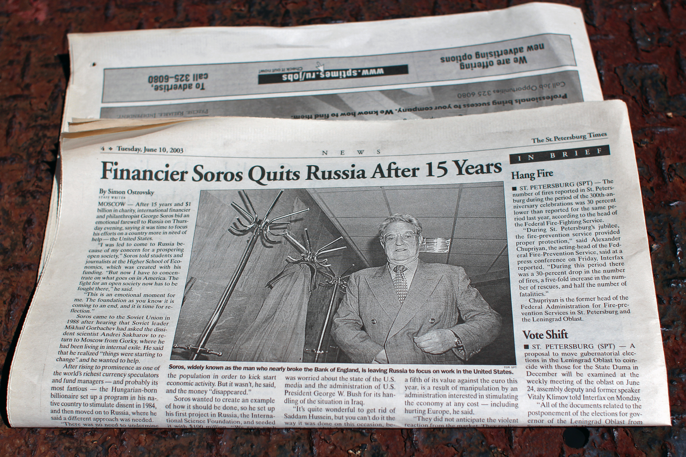 Photo of the June 10, 2003, edition of The St. Petersburg Times.