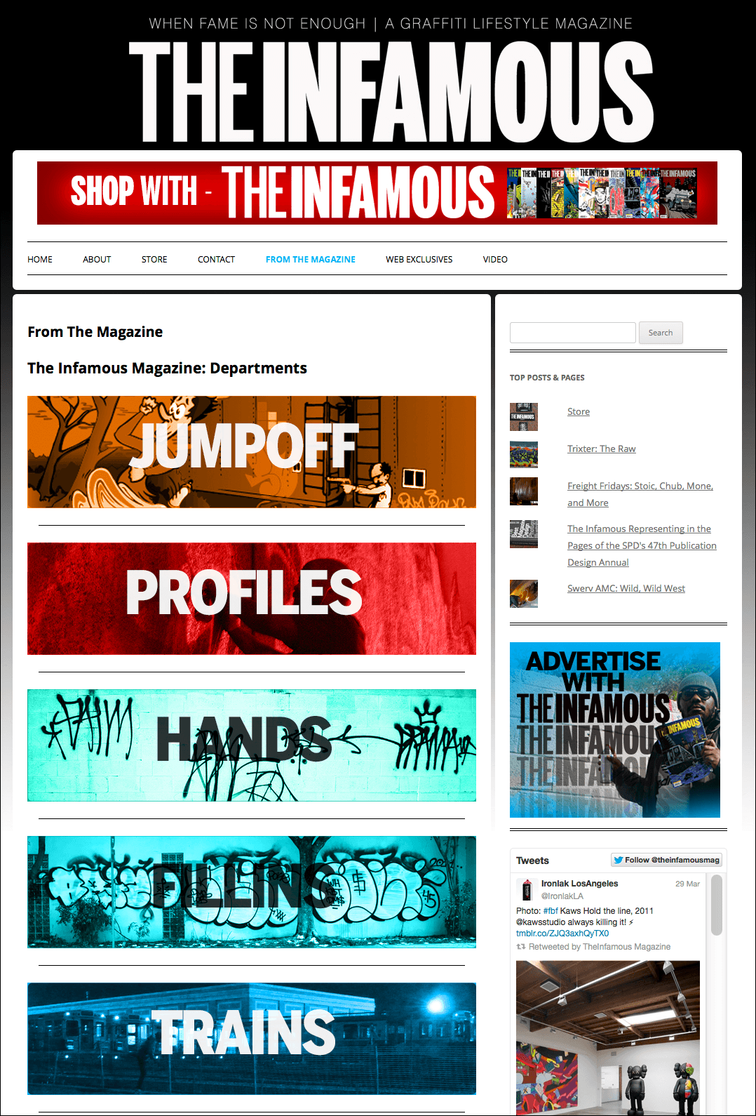 Screenshots and custom PHP code from the WordPress site I created for The Infamous Magazine.