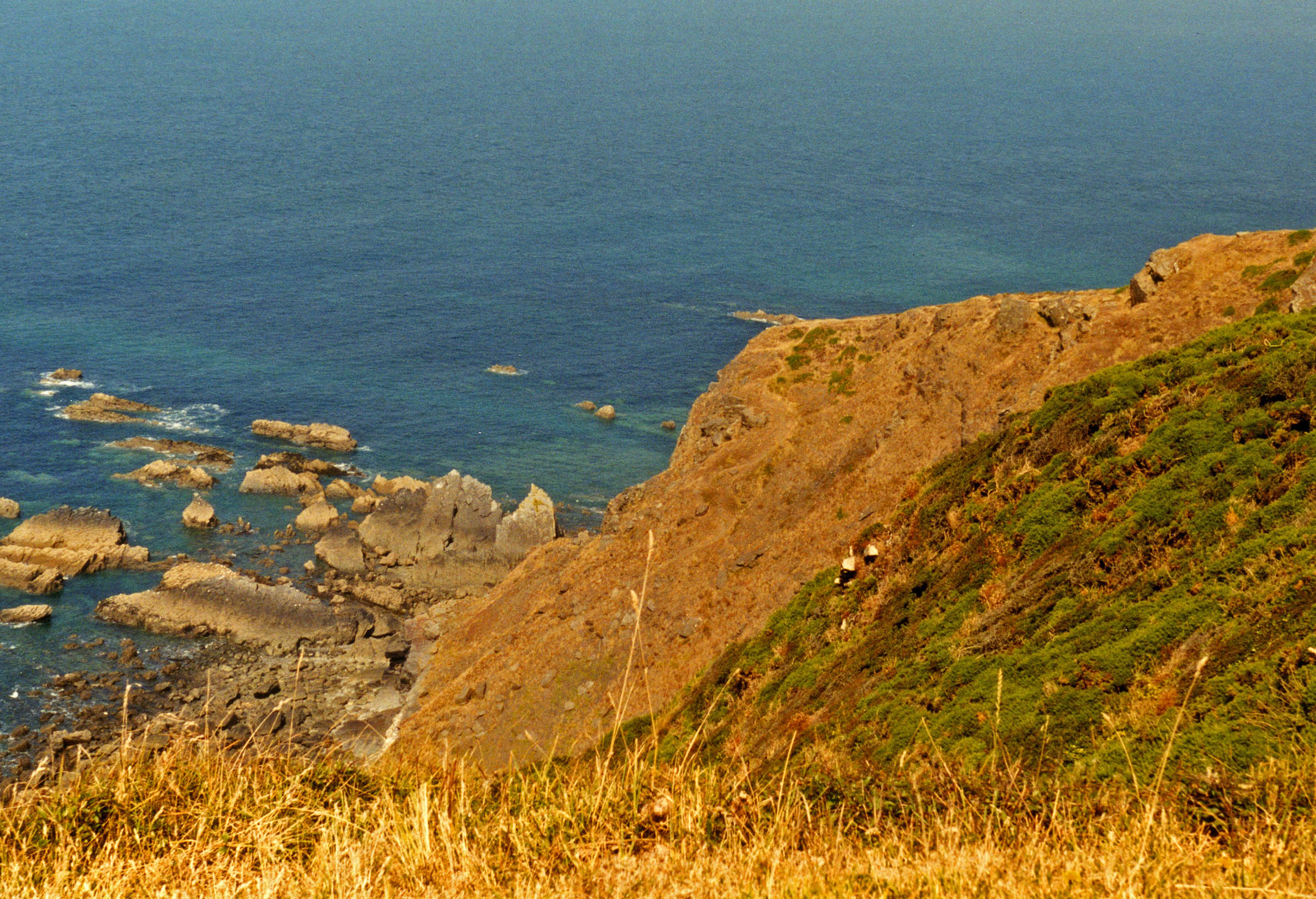 Cliff over ocean in Morenstow, Cornwall, UK, 1997.