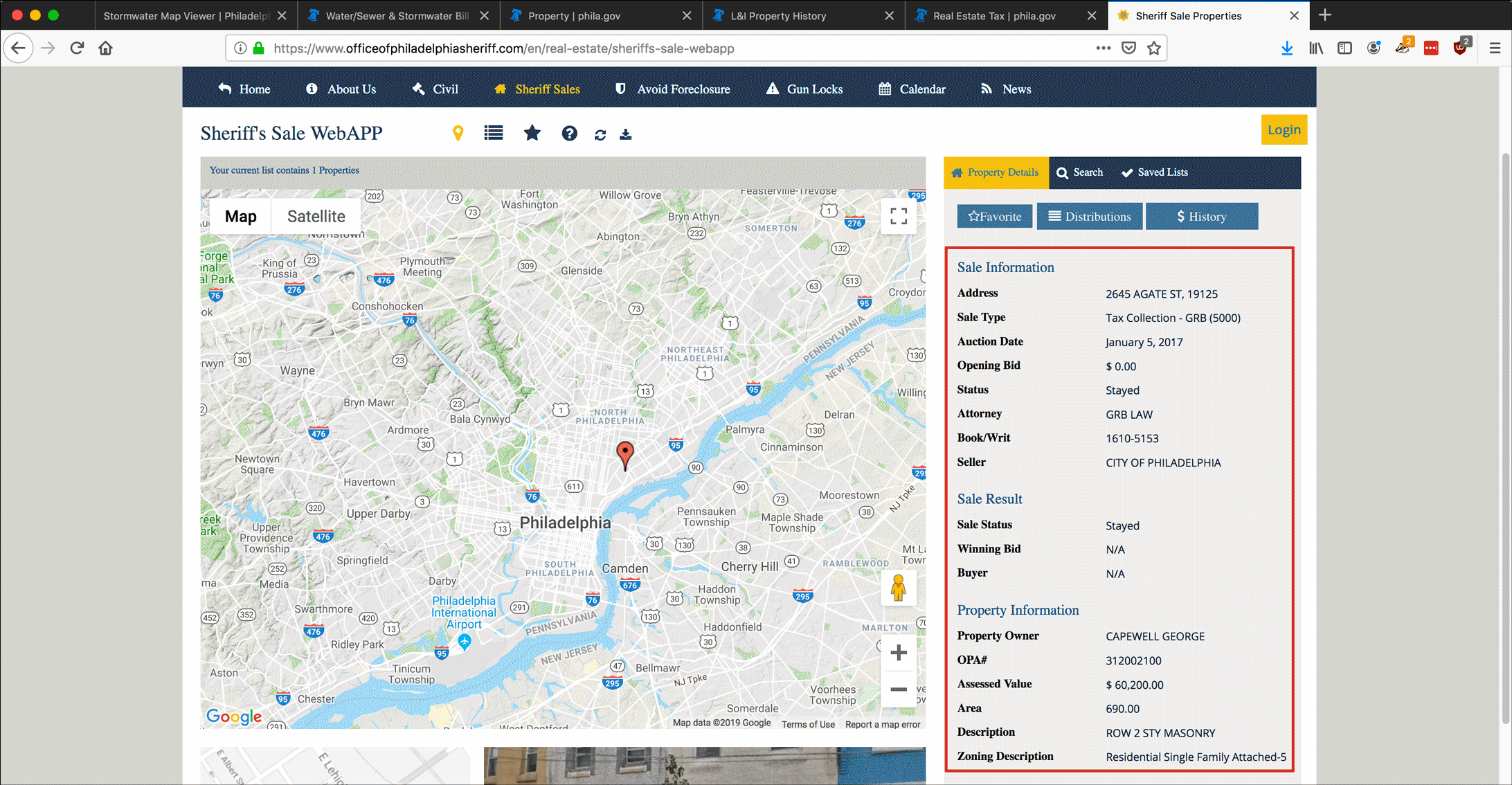 Screenshot illustrating research of property and Sheriff's sale information on the Philadelphia Sheriff's website.