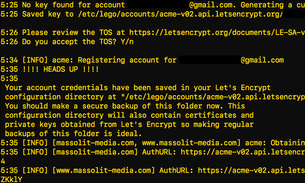 Screenshot illustrating the process to install a TLS certificate from Let's Encrypt.