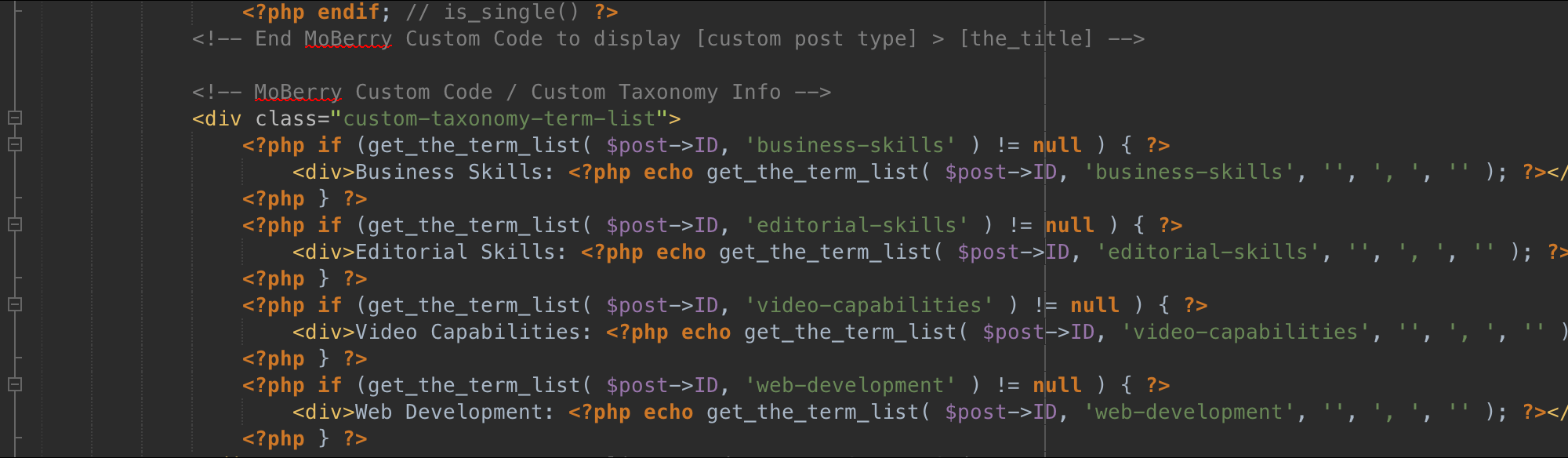 Screenshot: Customized PHP, etc., for a WordPress child theme that is currently in production on massolit-media.com.