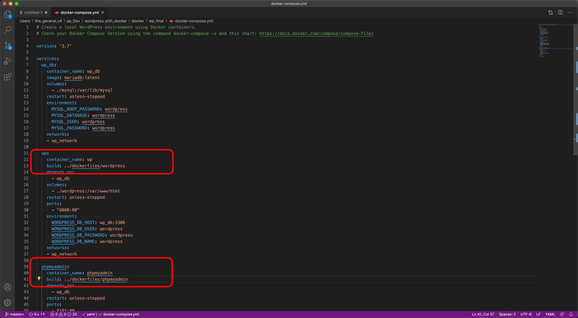 Screenshot displaying terminal output from docker compose and other docker commands.