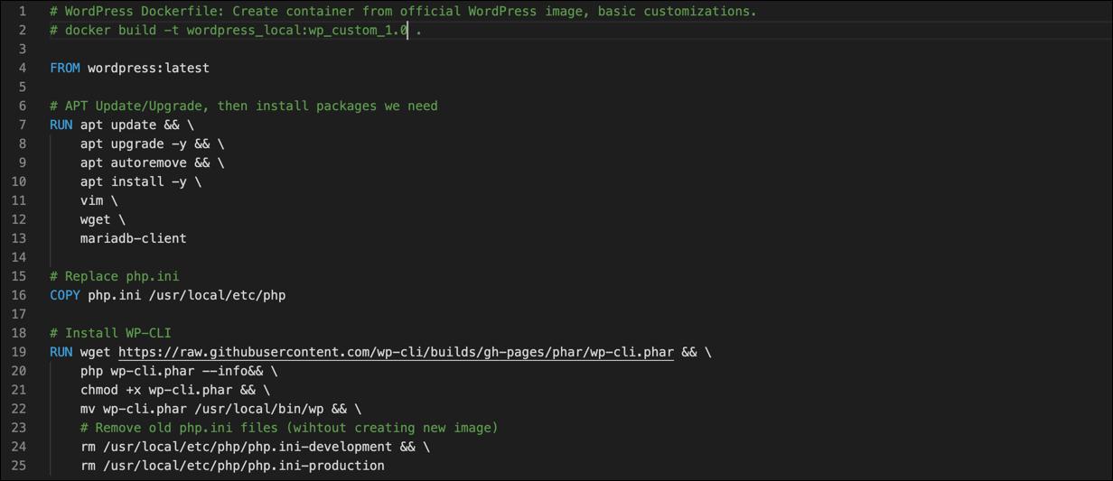 Screenshot of a Dockerfile.